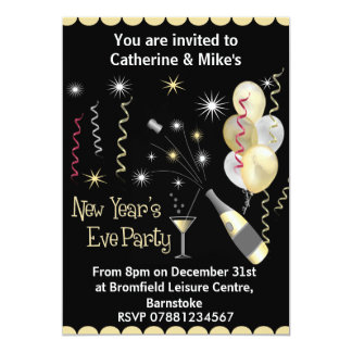 New Years Eve Party Invitation - Black & Gold