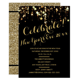 New Years Eve Party Invitation - Sparkle Stars