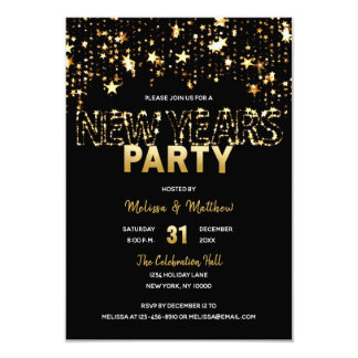 NEW YEARS EVE Party Invitations Gold Stars Lights