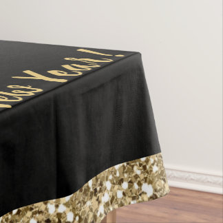 New Years Eve Party Tablecloth Black/Gold Sparkle