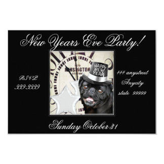 New Year's Eve pug dog party invitation