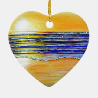 New Year's Eve Sunset Ceramic Heart Ornament