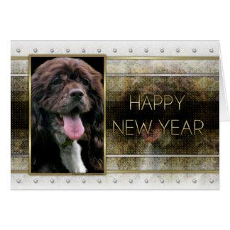 New Years - Golden Elegance - Cocker Spaniel Card