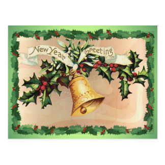 NEW YEARS GREETINGS & HOLLY by SHARON SHARPE Postcard