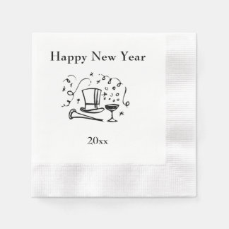 New Years Happy New Year with Year Disposable Napkins