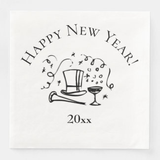 New Years Happy New Year with Year Paper Napkin