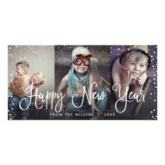 New Years Holiday Snow Seamless 3-Photo Card