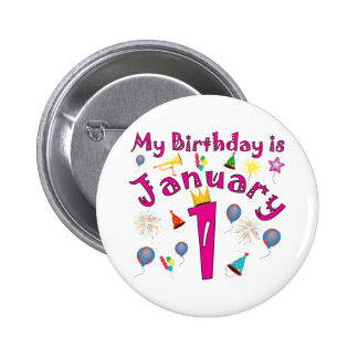 New Year's January 1 Birthday 2 Inch Round Button