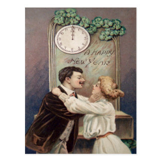 New Year's Kiss Four Leaf Clover Clock Postcard