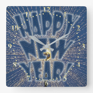 New Year's Lights Square Wall Clock