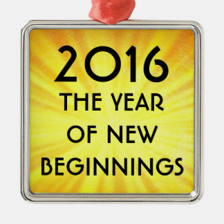 New Years New Beginnings 2016 Metal Ornament