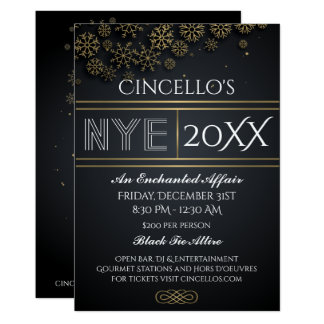 New Year's Party Gold Snowflakes Invitation
