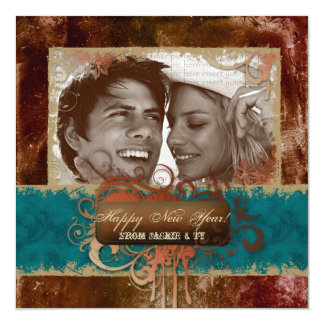 "New Year's Party Grunge Copper Blue Photocard 5.25"" Square Invitation Card"