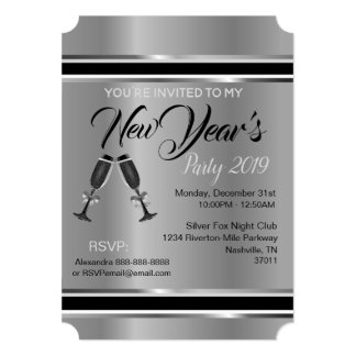 New Year's Party Invitation (Silver Elegance)