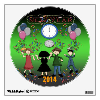 New Year's Party Round Wall Decal