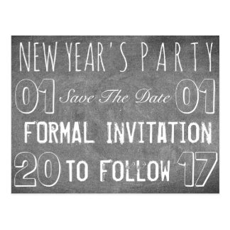 New Year's Party Save The Date Chalkboard Postcard