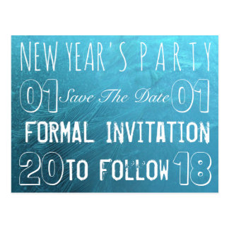 New Year's Party Save The Date Frozen Ice Blue Postcard