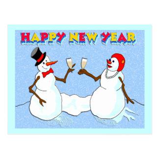 New Year's Snowmen Postcard