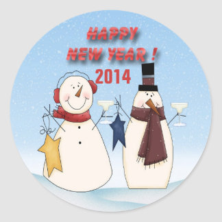 New Year's Snowmen Round Stickers