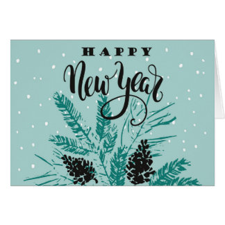 New Year's  - Teal Happy New Year Card