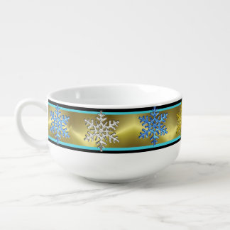 NEW YEARS TURQQUOISE AND GOLD SOUP BOWL, GIFT SOUP MUG