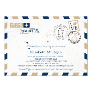 New York and New Jersey Airmail | Bridal Shower Card