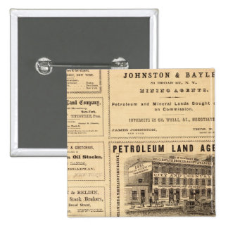 New York and Pennsylvania Oil Advertisements 2 Inch Square Button