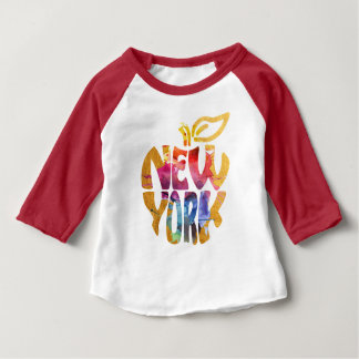 New York Apple, NYC. Watercolor Calligraphy Art. Baby T-Shirt