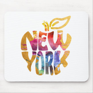 New York Apple, NYC. Watercolor Calligraphy Art. Mouse Pad
