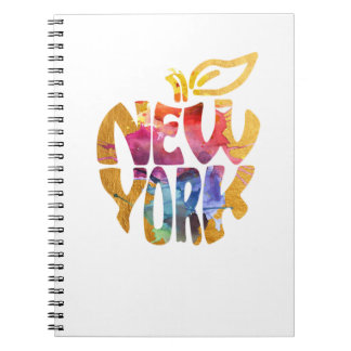 New York Apple, NYC. Watercolor Calligraphy Art. Notebook