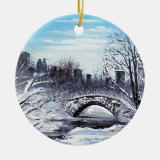 New York Art, Central Park, Landscape Round Ceramic Ornament
