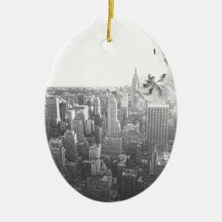 new york astronaut bw ceramic oval ornament