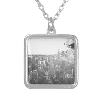 new york astronaut bw silver plated necklace