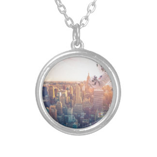 new york astronaut silver plated necklace