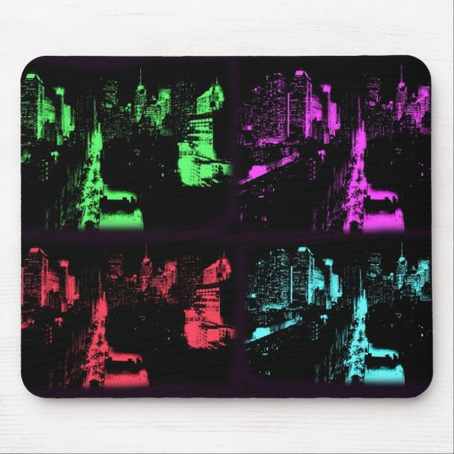 New York at Night Collage Mousepads