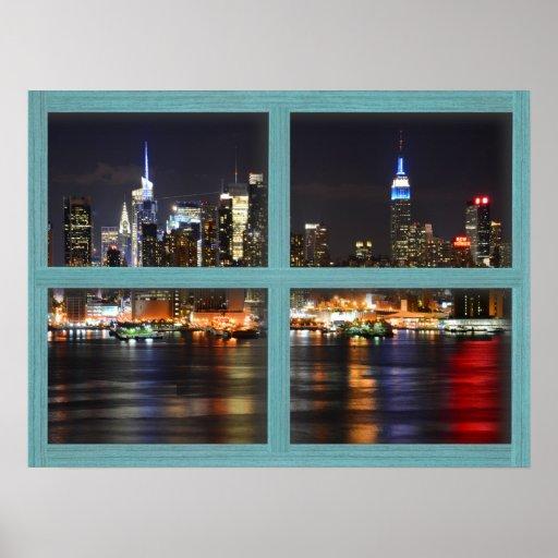 New York At Night - Green 4 Pane Window Poster