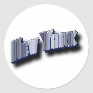 New York Banner Text Classic Round Sticker