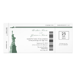 New York Boarding Pass Wedding Invitations