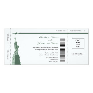 New York Boarding Pass Wedding Invitations