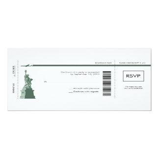 "New York Boarding Pass Wedding RSVP 4"" X 9.25"" Invitation Card"