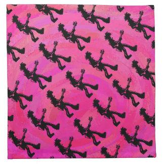 New York Boogie Nights Guitar Hot Pink Cloth Napkin