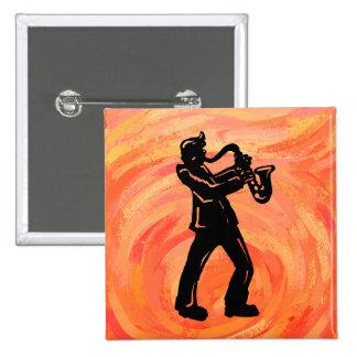 New York Boogie Nights Saxophone Orange 2 Inch Square Button