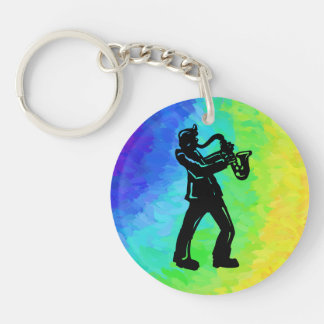 New York Boogie Nights Saxophone Rainbow Single-Sided Round Acrylic Keychain