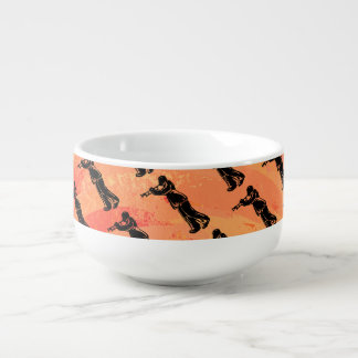 New York Boogie Nights Trumpet Orange Soup Bowl With Handle