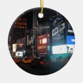 New York Broadway ate night Round Ceramic Ornament