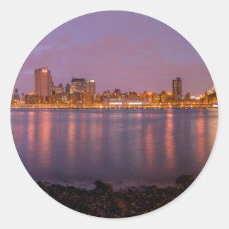 New York Brooklyn At Night Round Sticker