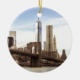 New York Brooklyn bridge Round Ceramic Ornament