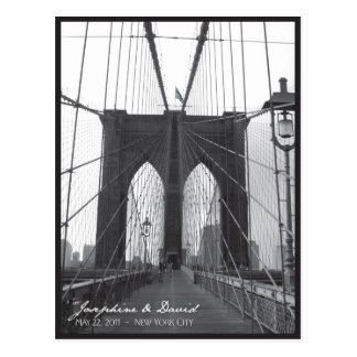 New York Brooklyn Bridge Save the Date Postcard