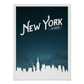 New York by night skyline - Poster
