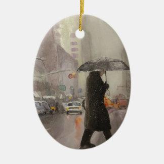 New York Chill Ceramic Oval Ornament